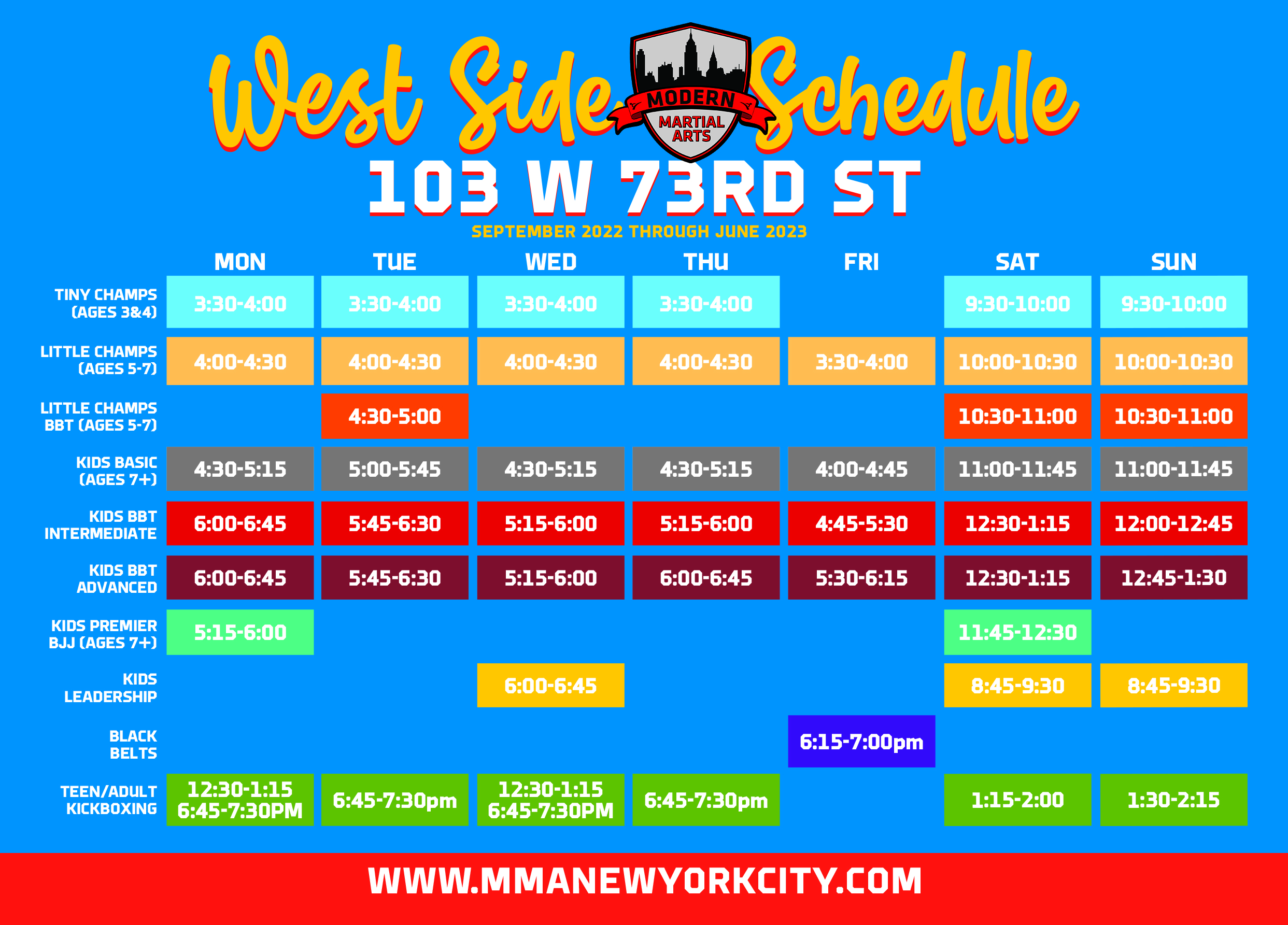 Upper Westside Schedule
